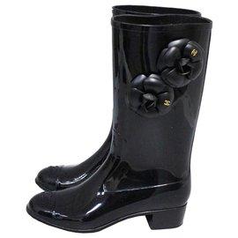 Chanel-Wellington boots-Black