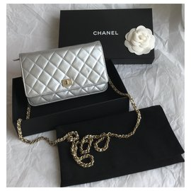 Chanel-Timeless WOC Wallet on Chain Flap Bag w/box-Silvery