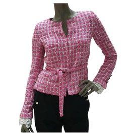 Chanel-CHANEL Veste Tweed Rose Sz.36-Rose