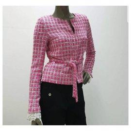 Chanel-CHANEL Pink Tweed  Jacket Sz.36-Pink