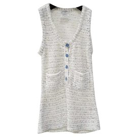 Chanel-CHANEL tweed top Sz 36-White