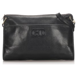Dior-Sac à bandoulière en cuir noir Dior-Noir