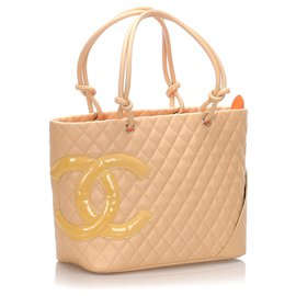 Chanel-Chanel Brown Cambon Ligne Tote Bag-Brown,Beige