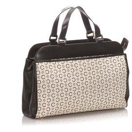 Céline-Celine White C Macadam Canvas Handbag-Brown,White,Dark brown