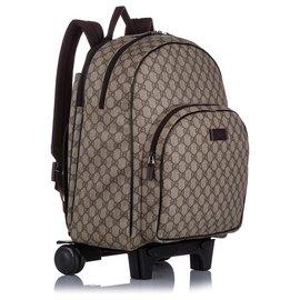 Gucci-Gucci Brown Kids GG Supreme Rolling Backpack-Marron,Beige,Marron foncé