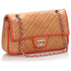 Chanel-Chanel Brown Medium Lambskin lined Flap Bag-Brown,Beige,Orange