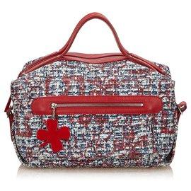 Chanel-Chanel Blue Clover Cotton Handbag-Red,Blue,Navy blue
