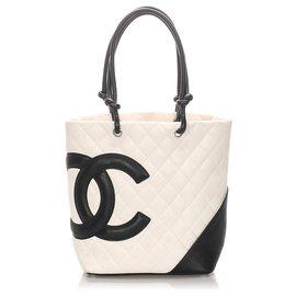 Chanel-Chanel White Cambon Ligne Tote Bag-Black,White