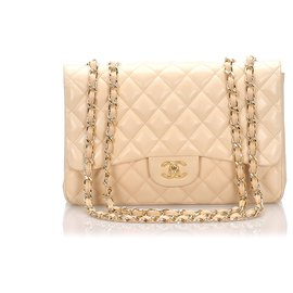 Chanel-Chanel Brown Jumbo Classic Single Flap Bag-Brown,Beige