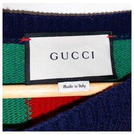 Gucci-Bee Web Stripe Gewebter Wollpullover Größe XS-Blau