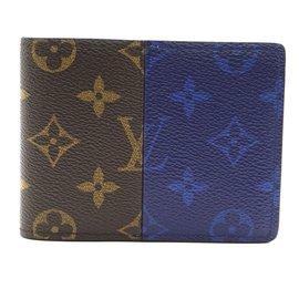 Louis Vuitton-Portefeuille Louis Vuitton Monogram Split et Blue Bifold-Multicolore