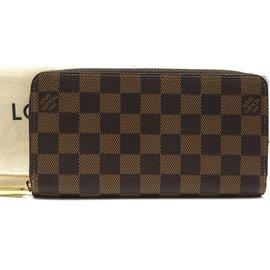 Louis Vuitton-Louis Vuitton Portefeuille long zippé Damier Ebene Organizer-Marron