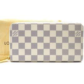Louis Vuitton-Portefeuille long zippé Louis Vuitton Damier Azur-Blanc