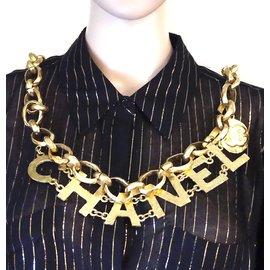 Chanel-Chanel Gold CC Spelled Out Long Belt Necklack-Golden