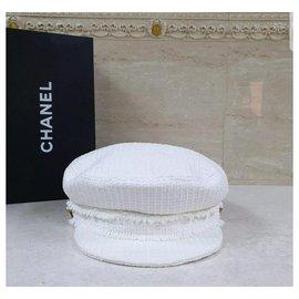 Chanel-CHANEL White Tweed Cap Gr. M-Weiß