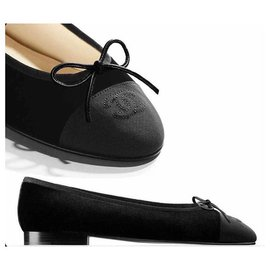 Chanel-BALLET FLAT CHANEL  SUEDE BLACK NEW-Black