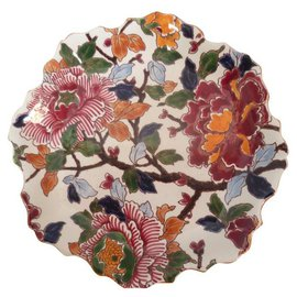 Autre Marque-Handmade Gien France plate with peonies pattern-Multiple colors