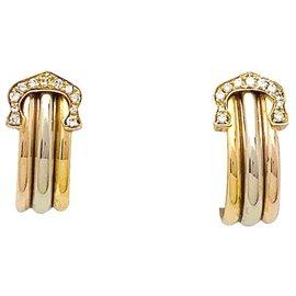 "Cartier-Cartier earrings model ""lined C de Cartier"", three gold tones, diamants.-Other"