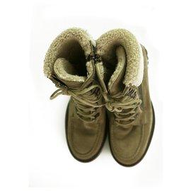 Chanel-CHANEL Women's Khaki Suede & Grey wool Lambskin Ankle Lace up Boots Booties 38,5-Grey,Khaki