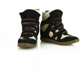 Isabel Marant-Isabel Marant Americana Over Basket Bicolor wedge Trainers Sneakers sz 38 shoes-Black,Beige