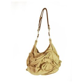 Yves Saint Laurent-YVES SAINT LAURENT YSL Camel Sueded Leather Nadja Rose Petal Bag-Beige