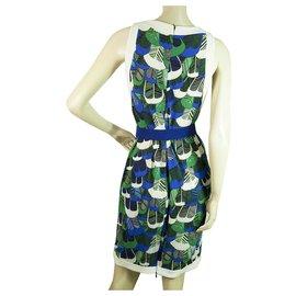 Dsquared2-DSquared Sans manches Bleu vert blanc imprimé pédale Mini Robe taille L avec ceinture-Multicolore