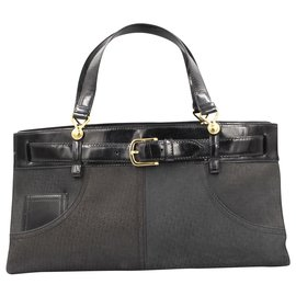 Dior-Dior Jeans tote handbag in leather-Noir