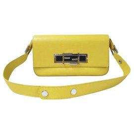 Fendi-Fendi 3Baguette Shoulder Flap Yellow Bag-Yellow