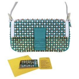Fendi-Fendi Women's Green Torquoise Baguette Super Bowl Beaded Bag-Multiple colors