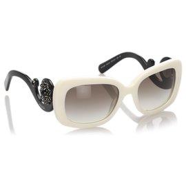 Prada-Prada White Barock Runde Sonnenbrille-Braun,Weiß