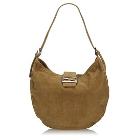 Fendi-Fendi Brown Corduroy Shoulder Bag-Brown,Light brown