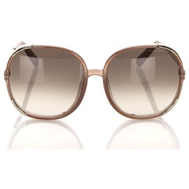 Chloé-Chloe Brown Round Tinted Sunglasses-Brown