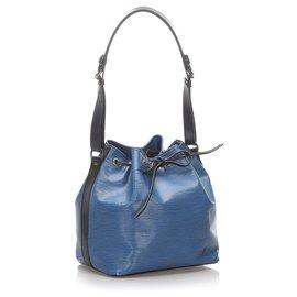 Louis Vuitton-Louis Vuitton Blau Epi Bicolor Petit Noe-Schwarz,Blau