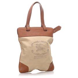Burberry-Burberry Brown Canvas Stowell Tote Bag-Brown,Beige,Dark brown