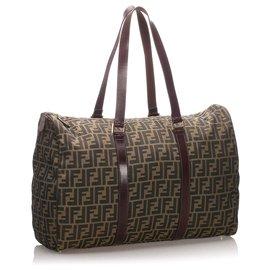 Fendi-Fendi Brown Zucca Canvas Travel Bag-Brown,Dark brown