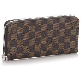 Louis Vuitton-Louis Vuitton Brown Damier Ebene Geldbörse mit Reißverschluss-Braun