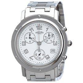 Hermès-Montre chronographe Hermes Silver Clipper-Argenté