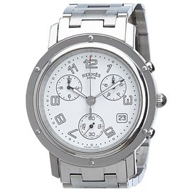 Hermès-Hermes Silver Clipper Chronograph Watch-Silvery
