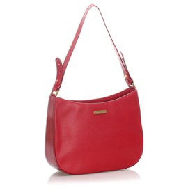 Burberry-Burberry Red Leather Shoulder Bag-Red