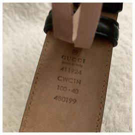 Gucci-Schwarzer Signature Ledergürtel-Schwarz