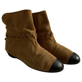 Chanel-Suede desert low boots-Chestnut