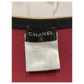Chanel-Strickwaren-Schwarz,Rot,Golden
