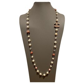 Chanel-Long necklaces-Pink,Grey,Eggshell