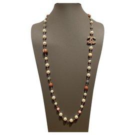 Chanel-Lange Halsketten-Pink,Grau,Aus weiß