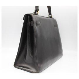 Hermès-Hermès Vintage Kelly 25 in black box leather.-Noir