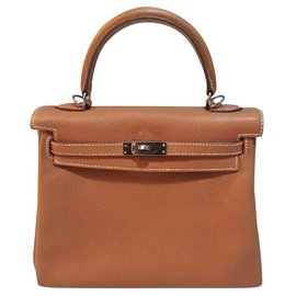 Hermès-hermes kelly 25 Gold Togo with Palladium hardware-Chestnut