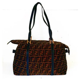 Fendi-Vintage Zucca FF Oversized Tote/Travel Bag-Brown