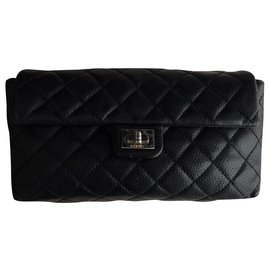 Chanel-Chanel clutch 2.55 black leather-Black