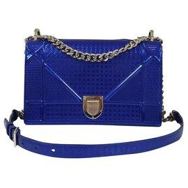 Dior-Sac en cuir Dior Diorama Medium Electric Blue-Bleu