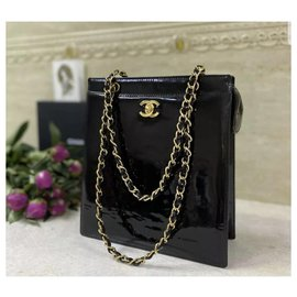 Chanel-Chanel Rare Vintage Patent Leather Chain  Bag-Black